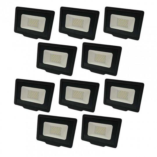 Lot de 10 Projecteurs LED Noirs 20W (100W) Étanche IP65 1600lm - Blanc du Jour 6000K