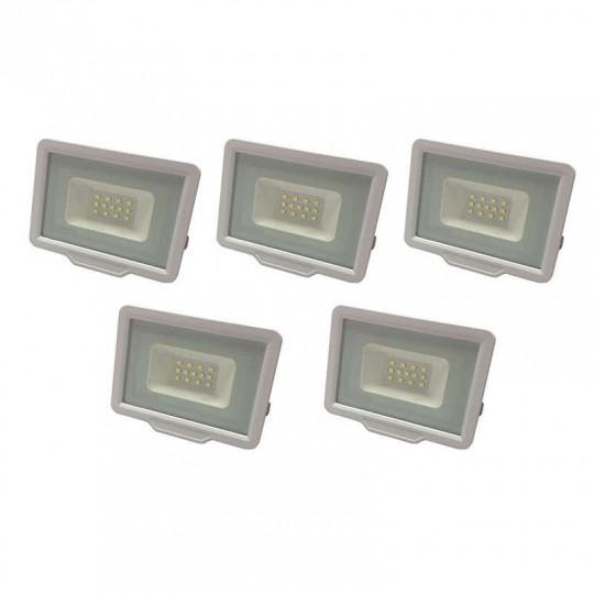 Lot de 5 Projecteurs LED Blancs 20W (100W) Étanche IP65 1600lm - Blanc Chaud 2700K