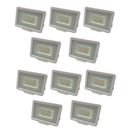 Lot de 10 Projecteurs LED Blancs 20W (100W) Étanche IP65 1600lm - Blanc du Jour 6000K