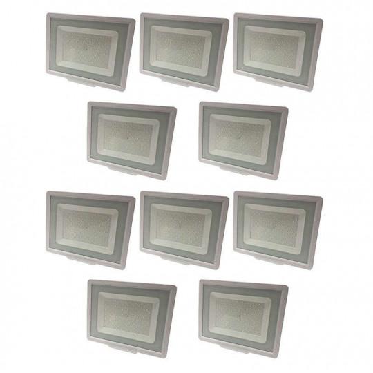 Lot de 10 Projecteurs LED Blancs 100W (500W) IP65 8000 lumens - Blanc Naturel 4500K