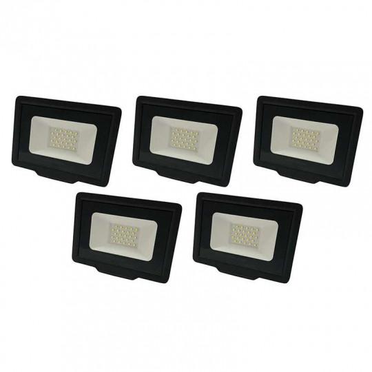 Lot de 5 Projecteurs LED Noirs 20W (100W) Étanche IP65 1600lm - Blanc Chaud 2700K