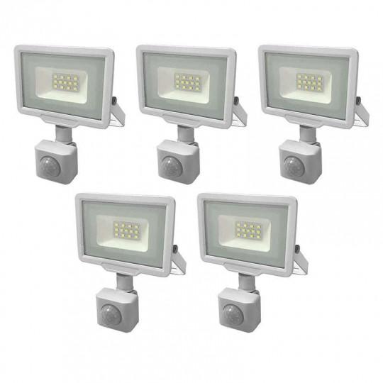 Lot de 5 Projecteurs LED Blancs 10W à Détecteur IP65 800lm - Blanc Naturel 4500K