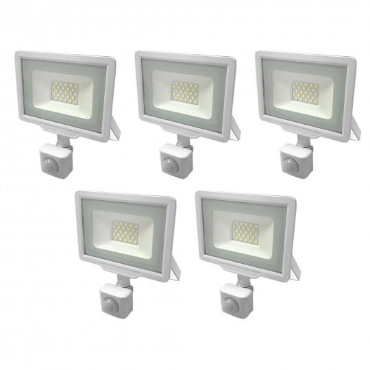 Lot de 5 Projecteurs LED Blancs 20W (100W) à Détecteur IP65 1600lm - Blanc Chaud 2700K