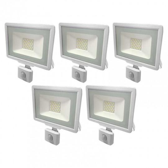 Lot de 5 Projecteurs LED Blancs 30W (150W) à Détecteur IP65 2400lm - Blanc du Jour 6000K