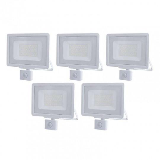 Lot de 5 Projecteurs LED Blancs 50W (250W) à Détecteur IP65 4000lm - Blanc Naturel 4500K