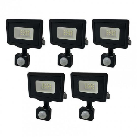 Lot de 5 Projecteurs LED Noirs 10W à Détecteur IP65 800lm - Blanc Naturel 4500K
