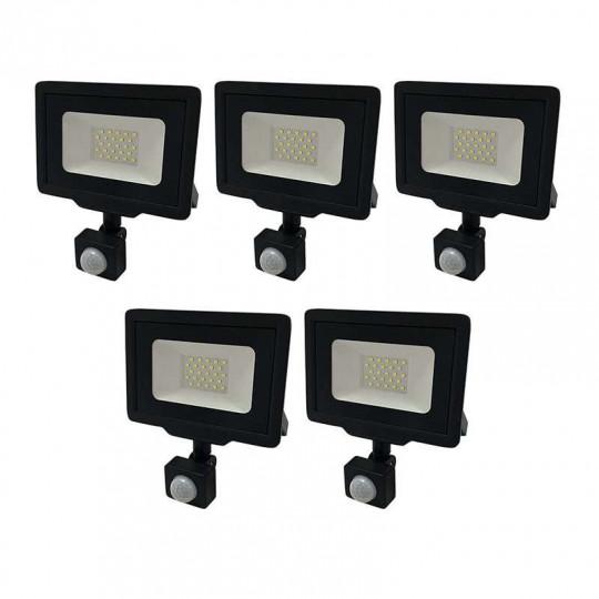 Lot de 5 Projecteurs LED Noirs 20W (100W) à Détecteur IP65 1600lm - Blanc du Jour 6000K