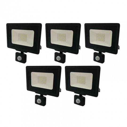 Lot de 5 Projecteurs LED Noirs 30W (150W) à Détecteur IP65 2400lm - Blanc du Jour 6000K