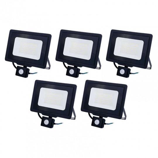 Lot de 5 Projecteurs LED Noirs 50W (250W) à Détecteur IP65 4000lm - Blanc du Jour 6000K