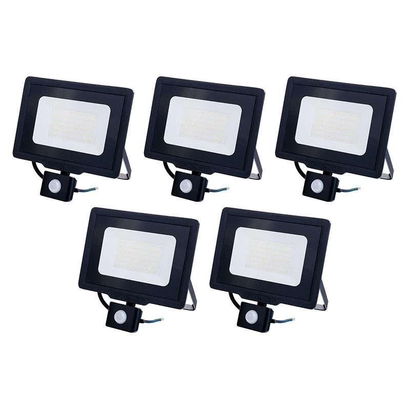 Lot de 5 Projecteurs LED Noirs 50W...