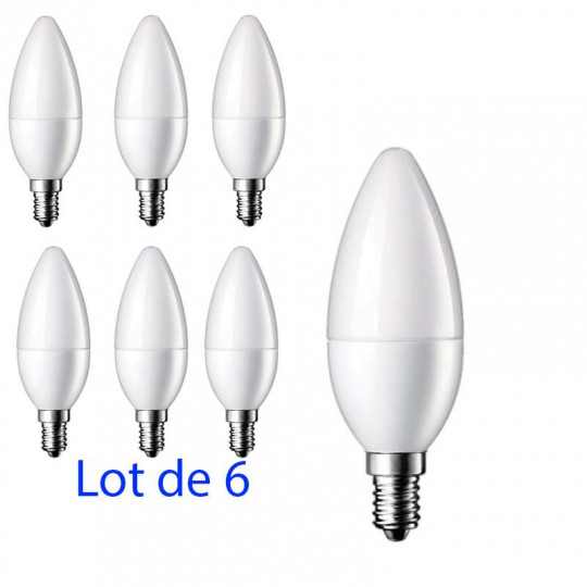 Lot de 6 Ampoules LED E14 5W Flamme - équivalent 40W