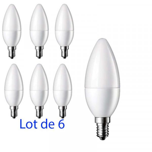 Lot de 6 Ampoules LED E14 5W Flamme - équivalent 40W