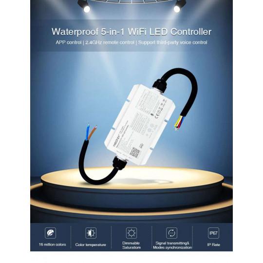 Contrôleur LED Wifi CCT RGB RGBW RGBCCT étanche IP67 5 en 1 DC12-36V