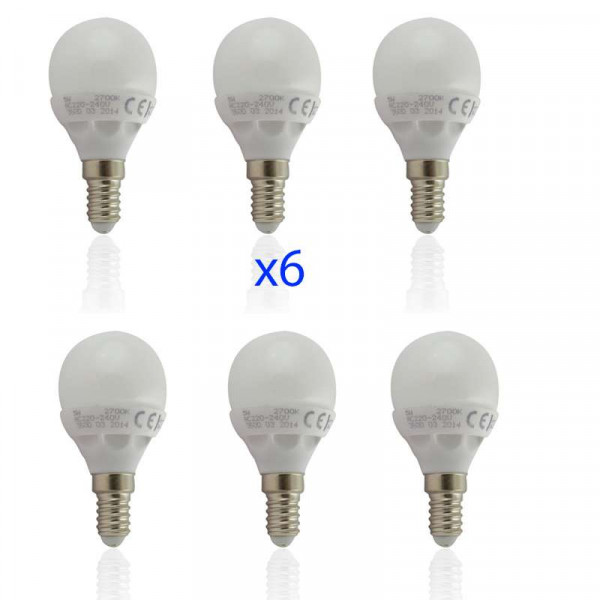 Lot de 6 Ampoules E14 LED 6W Globe eq 40W