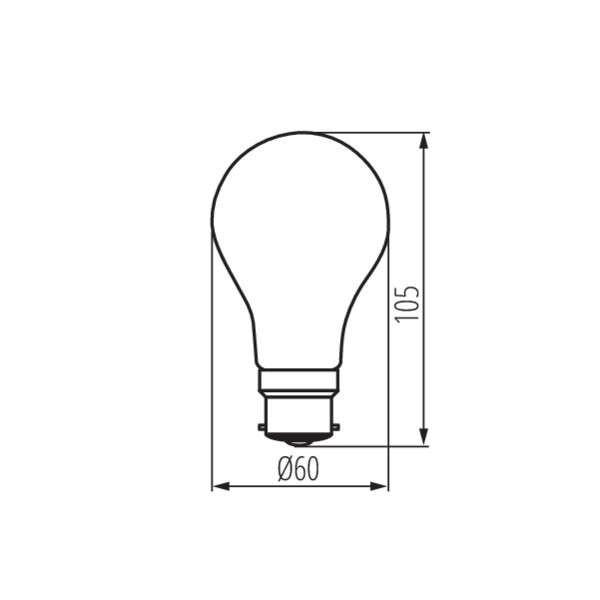 Ampoule LED B22 8W A60 équivalent à 75W - Blanc Chaud 2700K