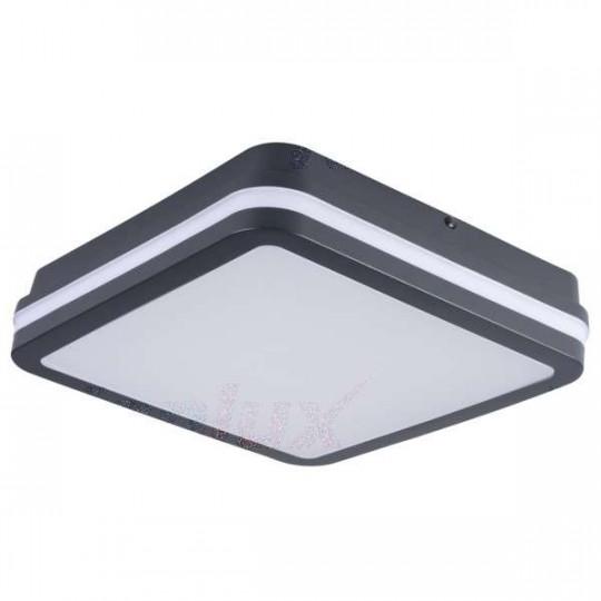 Plafonnier LED 24W étanche IP54 carré côté 260mm Graphite - Blanc Naturel 4000K