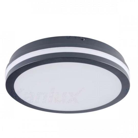 Plafonnier LED 24W étanche IP54 rond ∅260mm Graphite - Blanc Naturel 4000K