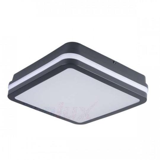 Plafonnier LED 18W étanche IP54 carré côté 220mm Graphite - Blanc Chaud 3000K