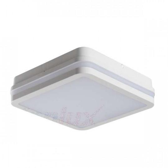 Plafonnier LED 18W étanche IP54 carré côté 220mm Blanc - Blanc Chaud 3000K