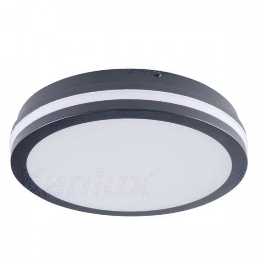 Plafonnier LED 24W étanche IP54 rond ∅260mm Graphite - Blanc Chaud 3000K