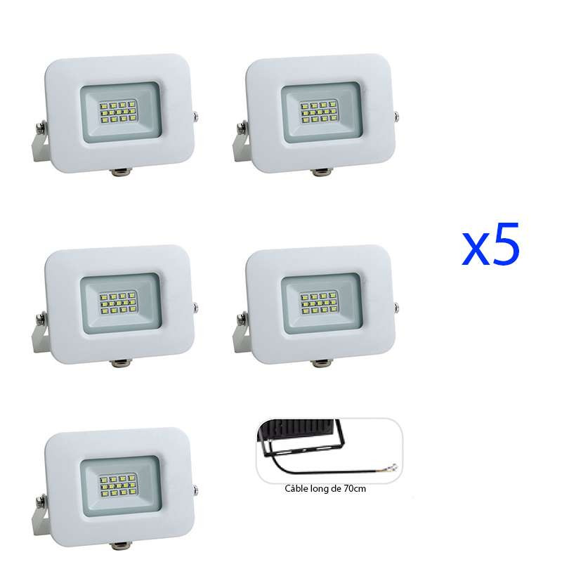 Lot de 5 Projecteurs LED 10W (60W) Blanc Premium Line IP65 850 lumens