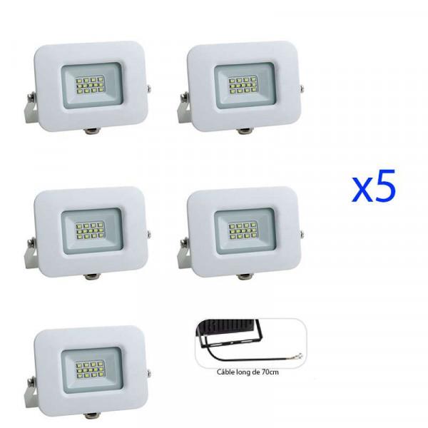 Lot de 5 Projecteurs LED 10W (60W) Blanc Premium Line IP65 850 lumens