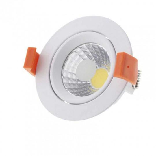 Plafonnier Rond Encastrable Blanc LED 8W COB Éclairage 50W - Blanc Naturel 4500K