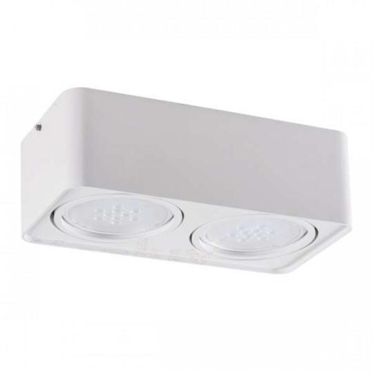 Plafonnier Saillie rectangulaire pour 2 ampoules AR111 Blanc