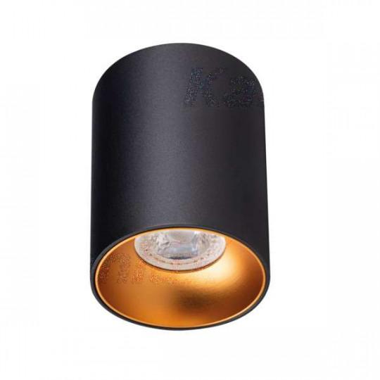 Plafonnier Saillie rond pour 1 ampoule GU10 Noir / or