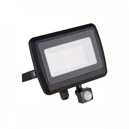 Projecteur LED à Détecteur 50W Noir étanche IP44 4000lm (400W) - Blanc Naturel 4000K