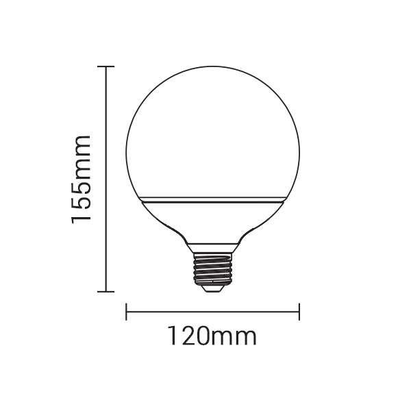 Ampoule E27 globe G120 LED 15W (120W)