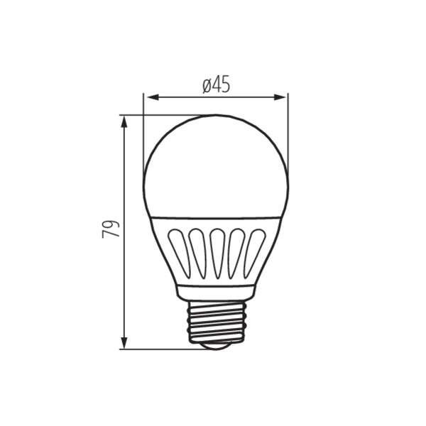 Ampoule LED E27 5W G45 équivalent à 37W - Blanc Chaud 3000K