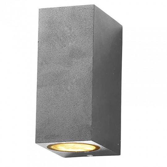 Applique Carrée Spot 2xGU10 Aluminium Grise