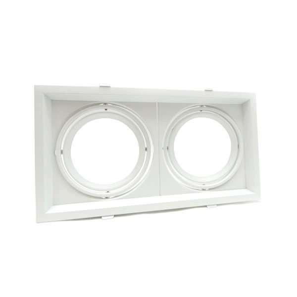 Support AR111 carré double encastrable orientable blanc