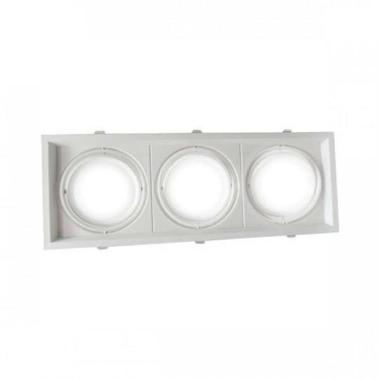 Support AR111 carré triple encastrable orientable blanc