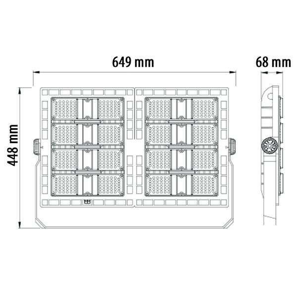 Projecteur LED Sportif haute puissance 480W 90x120° 48000lm