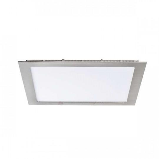 Downlight LED 24W étanche IP44 carré Nickel satiné - Blanc Naturel 4000K