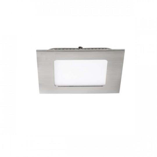 Downlight LED 6W étanche IP44 carré Nickel satiné - Blanc Naturel 4000K