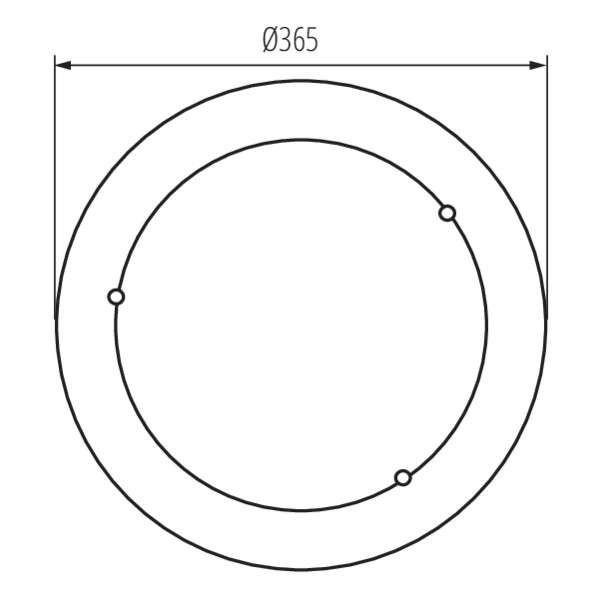Plafonnier à Culot 2 x E27 rond ∅385mm Pin