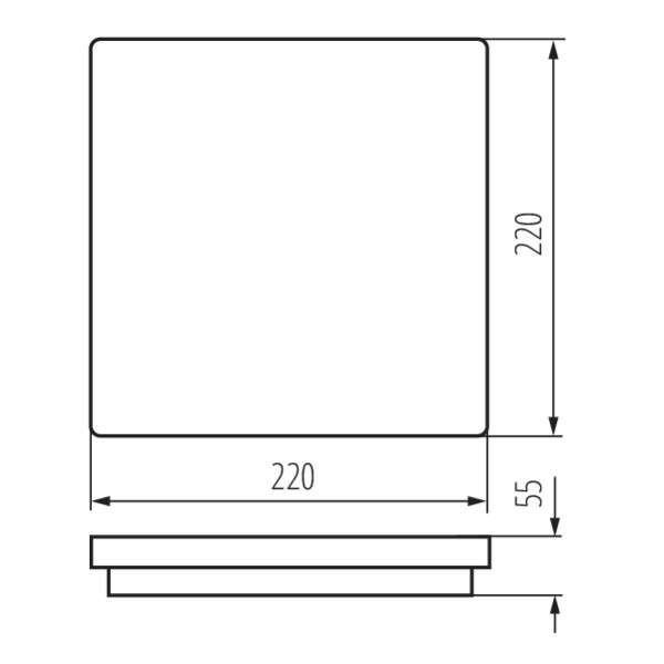 Plafonnier LED 18W à détecteur étanche IP54 carré côté 220mm Blanc - Blanc Naturel 4000K