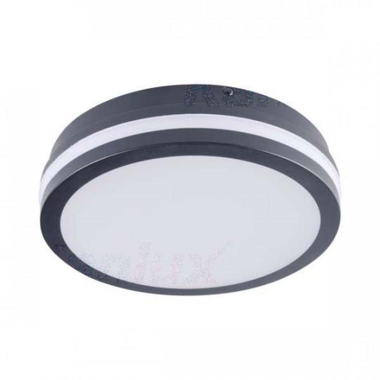 Plafonnier LED 18W à détecteur étanche IP54 rond ∅220mm Graphite - Blanc Naturel 4000K