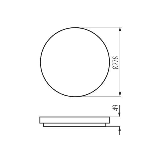 Plafonnier LED 18W étanche IP54 rond ∅278mm Blanc - Blanc Chaud 3000K