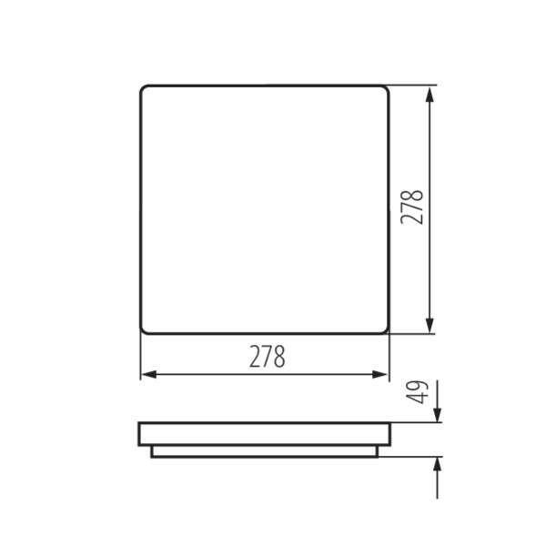 Plafonnier LED 18W étanche IP54 carré côté 278mm Blanc - Blanc Chaud 3000K