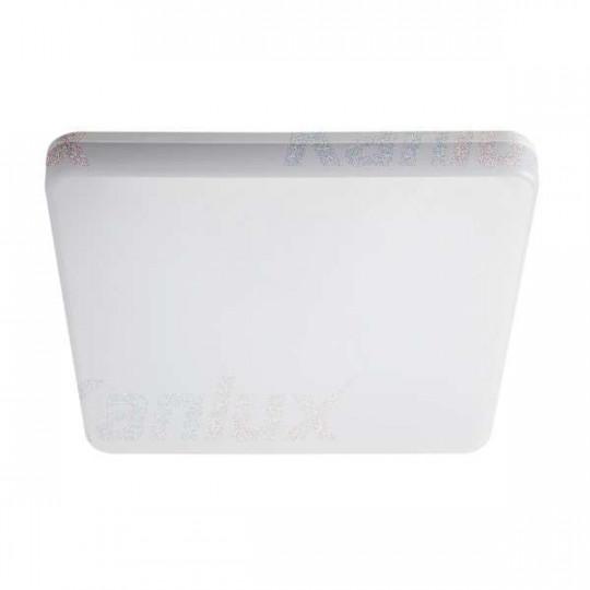 Plafonnier LED 24W étanche IP54 carré côté 327mm Blanc - Blanc Chaud 3000K