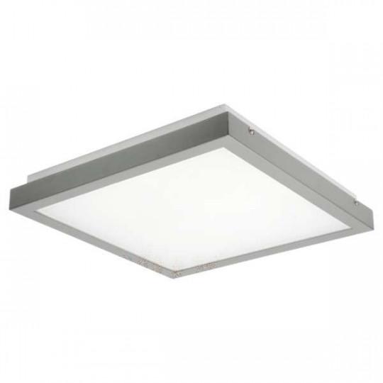 Plafonnier LED 38W carré côté 410mm Gris / blanc - Blanc Naturel 4000K