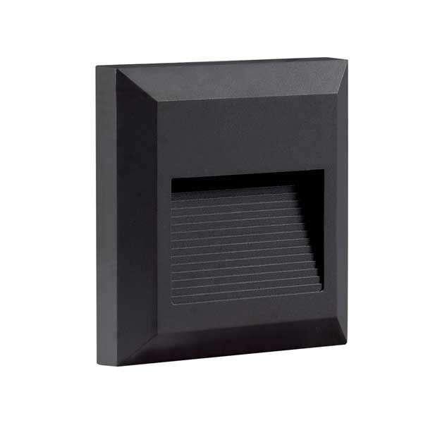Applique 2W Encastrable LED Extérieure étanche Carré Noire