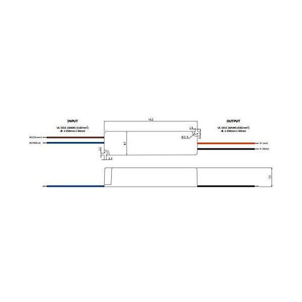Alimentation LED DC 24V 60W IP67 étanche