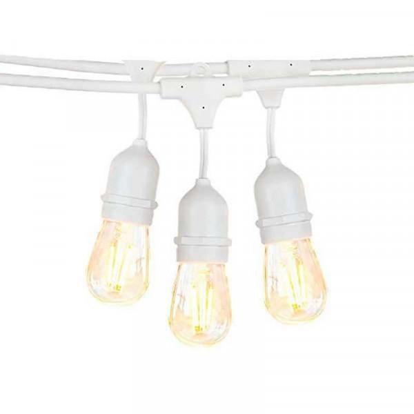 Guirlande Guinguette Blanche IP65 14,4m pour 15 Ampoules E27