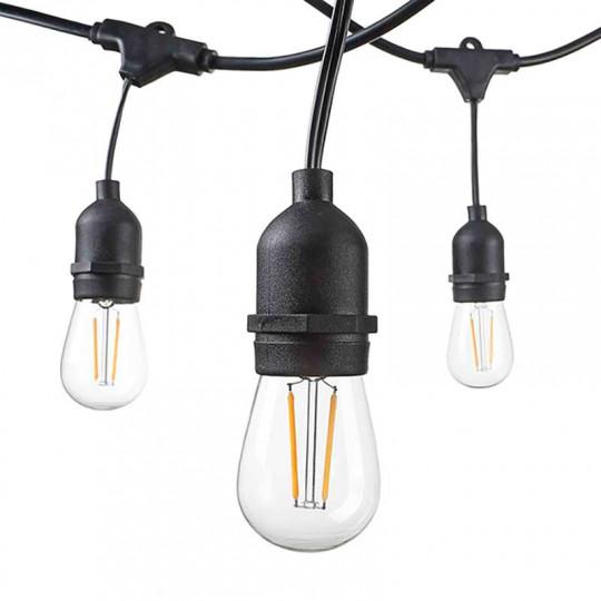 Guirlande Guinguette Noire Suspendue IP65 14,4m pour 15 Ampoules E27