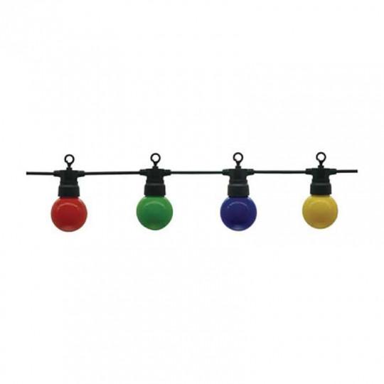 Guirlande Guinguette 10 ampoules colorées 8m fil noir